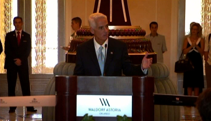 Florida Governor Charlie Christ at the opening of the Waldorf Astoria Orlando