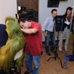 Audio operator, Paul Gramaglia, mics the Grinch