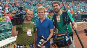 My self, Lee Shelton (producer), and Michael McQueen (audio guy) before first pitch at Camden Yards.