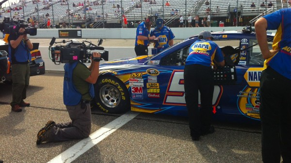 Dave and I shooting Martin Truex Jr. waiting to qualify.