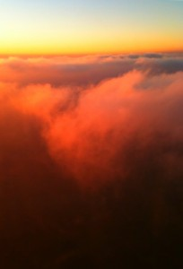 Flying over Key Biscayne at sunset.  The Go Pro is attached to the left wing.