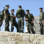 Israeli IDF on patrol atop the walled city of Jerusalem